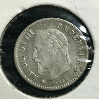 1867-A FRANCE SILVER 20 CENTIMES HIGH GRADE