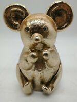 Vintage Gold Tone Metal koala bear with Crystal Eyes Coin Bank heavy nice piece