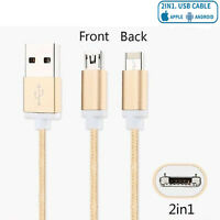 2in1 Lightning to Micro 2 Sided Nylon Charging/Syncing iPhones & Samsung - Gold