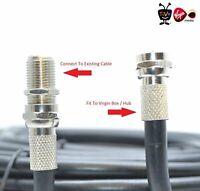 2M Virgin Media TV Broadband Extension Cable Black For Sky + HD Tivo & Superhub