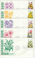 SSS: 5 pcs House Farnam FDC 1996  32c  Winter Garden Flowers  BK5   Sc #3025-29