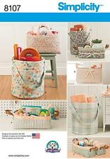 SIMPLICITY SEWING PATTERN ORGANIZERS BUCKET TOTE  8107 0S