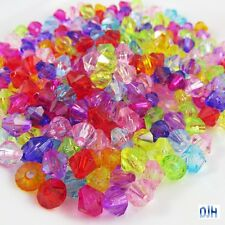 50g 265+pcs Acrylic Faceted Crystal Bicone Craft Beads Transparent 8mm Hole 1mm