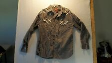 Cody James Mens Western Pearl Snap Gray Shirt Size Large, Ex Cond!
