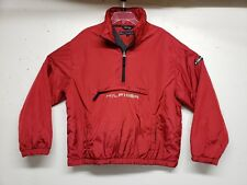 TOMMY HILFIGER PACKABLE 1/4 Zip Spell Out Lined JACKET Red Nylon Men's Large