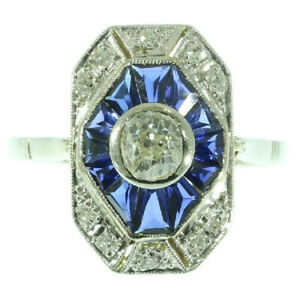 1Ct White Round Diamond Bezel Set Vintage Antique Ring Solid 925 Sterling Silver