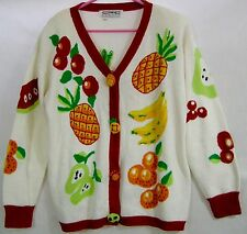 Fruity Womens Cardigan Sweater XL Vintage Cotton Blend Eric Stevens White Red