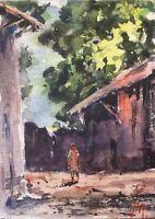 "ACEO Original Watercolor Painting art 2.1/2"" x 3.1/2    Villager"