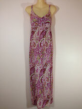 El Shadai Women's Size 12 Magenta Pink & White Paisley Maxi Dress