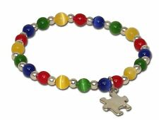 Autism Awareness Bracelet Puzzle Charm Primary Colors Easy On Stretch