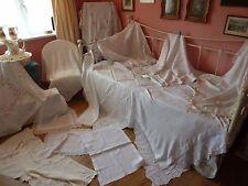 10 Antico tovaglie, due panni Vassoio & RUNNER Lavori all'Uncinetto & Ricamo
