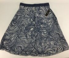 Alfani Chiffon A-line Skirt Marble Layers BLUE Elastic Waist Back Zip  Medium