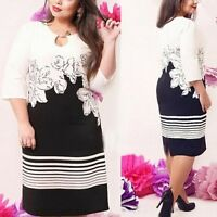 Chic Womens Floral Print Bodycon Dress Fashion Office Lady Career Pencil Dress
