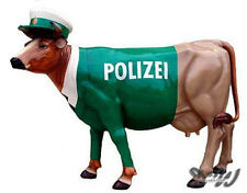 KUH mit KUNSTBEMALUNG POLIZEI UNIFORM POLIZIST lebensgroß Deko Garten Tier Figur