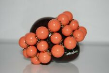 Beads Stretch Statement Cuff Bracelet Runway Style Large Coral Color Acrylic