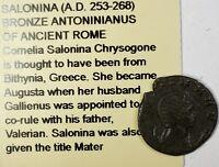 Salonina 253-268 AD CE Ancient Bronze Antoninianus Coin of Rome Littleton
