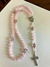 "NEW ""ROSE QUARTZ"" Hand-Made & Designed ROSARY, Mary Pink Jeweled Center, NEW"