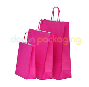 Pink Paper Bags Twist Handle Party and Gift Carrier / Paper Bags With Handles