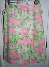 Vintage 1960s LILLY PULITZER The Lilly Pink Green Floral Cotton Skirt Size 10