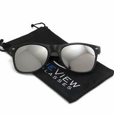 Wayfare Sunglasses Retro Black Frame Silver Reflective Lens Classic Men Women