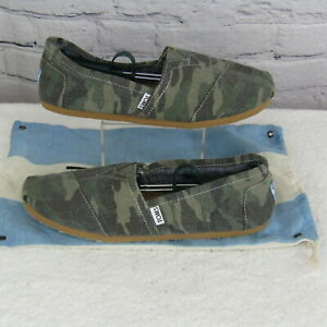 Toms Camouflage Canvas Slip On Loafers With Bag Green Men's US Size 10 EU 43
