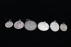 6 x .925 Sterling Silver PENDANTS inc. Georg Jensen, St Christopher (22g)