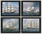 Unframed Ship Print Set of 4 Antique Blue Sea Ocean Boat Sail Beach Wall Art