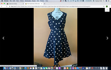 Kate Spade Black White Deco Polka Dot Fit and Flare Lined Dress Size 4