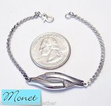 Vtg Signed MONET Bracelet, S-Link Chain w/Abstract ST Twist Focal, Sister Clasp