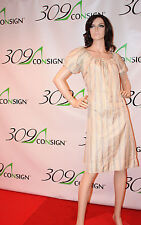 New DKNY DONNA KARAN 8 M Cream Ivory Blue Striped Silk Peasant Shift Sun Dress