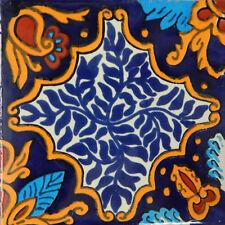 "100 Handmade Ceramic Mexican Tile Folk Art 4x4"" C211"