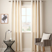 CONTEMPOARY JOHN LEWIS COTTON RIB PLAIN CREAM LINED CURTAINS 66 X 90INS RRP £85