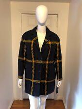 NWT Donna Karan Women's Blue Textured Plaid Wool Blend Coat Sz L