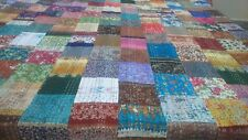 Handmade Vintage Gudri Printed Art Silk Bedspread Patchwork Kantha Quilt Throw