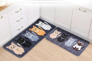 Cartoon Cute Cats Bathroom Bedroom Floor Mat Non-slip Absorbent Soft Shower Rug