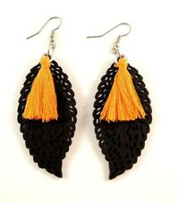 Orange Cotton Tassels Lightweight Laser Cut Black Wood Dangle Earrings #750