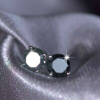 18K WHITE GOLD GF MADE WITH BLACK SWAROVSKI CRYSTAL EARRINGS STUD 6MM 0.8CT