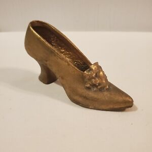 Brass High Heel Shoe with a flower on the top