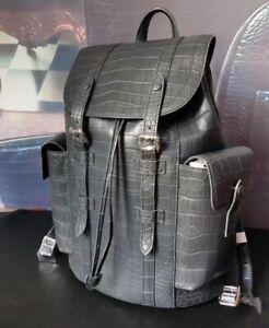 Handcrafted Alligator Skin Leather Backpack Shoulder Bag Travel Bag