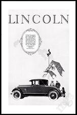 1926 Lincoln auto vintage print ad - 2-passenger coupe art