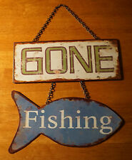 GONE FISHING Hanging Fish Sign Rustic Fisherman Lodge Log Cabin Home Decor - NEW