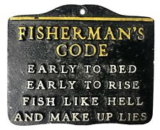 Fisherman's Code Metal Plaque: Early to Bed, Early to Rise... Funny Father's Day