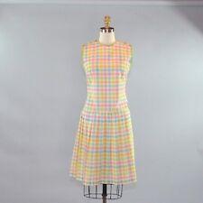Vtg 1950s Women's Drop Waist Dress Plaid Pink Green Blue Pastel Sleeveless Sz M