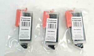 3 Inkjetcorner C-0251 BK Black Ink Cartridge Expires 3/2023 New In Unopened Pack
