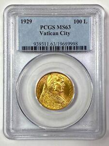 1929 100L Gold VATICAN CITY Coin Pius XI ROME - KM:9 - PCGS MS 63 - RARE!!!