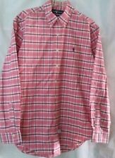 Vtg. 90's Men's Ralph Lauren Button Down Pink Plaid Shirt Long Sleeve - Size L