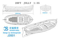 Full Rib Scale 1:35 Model Ship Long Boat Wooden Model Ship Kit J3501 20ft Jolly