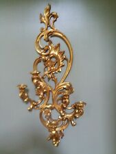 """Home Interiors Syroco #4048 Ornate Gold 5 Arm Wall Sconce Picture Accent 35"""" T"""