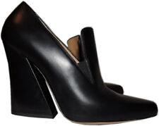 Dries Van Noten Flare High-Heel / Wedge Black Leather Loafer Pumps Shoes 39