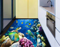 3D Tropical Fish on a coral reef Waterproof Kitchen Floor Sticker Wall Murals